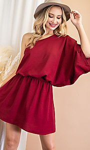 Image of one-shoulder short casual wedding guest dress. Style: LAS-EES-21-DG54178 Front Image