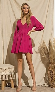 Image of magenta pink long-sleeve short casual party dress. Style: FG-BNB-21-PGBD49785A Front Image
