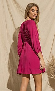 Image of magenta pink long-sleeve short casual party dress. Style: FG-BNB-21-PGBD49785A Back Image