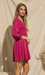 Image of magenta pink long-sleeve short casual party dress. Style: FG-BNB-21-PGBD49785A Detail Image 2