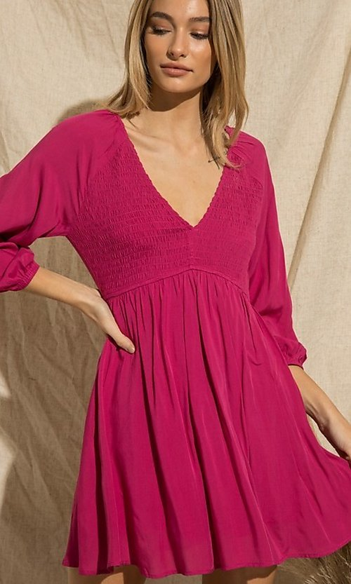 Image of magenta pink long-sleeve short casual party dress. Style: FG-BNB-21-PGBD49785A Detail Image 1