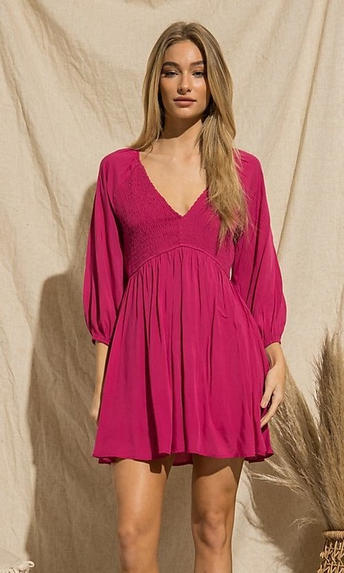 Image of magenta pink long-sleeve short casual party dress. Style: FG-BNB-21-PGBD49785A Detail Image 3