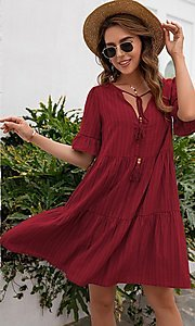 Image of half-sleeve short casual party dress with neck tie. Style: FG-LIL-21-CWDSD0707 Detail Image 1