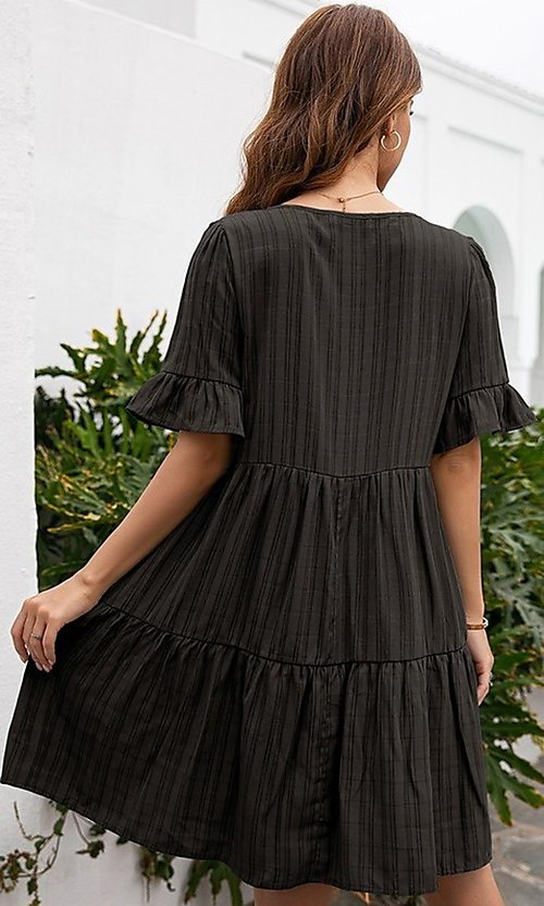 Image of half-sleeve short casual party dress with neck tie. Style: FG-LIL-21-CWDSD0707 Detail Image 3