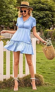 Image of short sleeve casual short light blue dress. Style: FG-LIL-21-CWDSD0694 Front Image