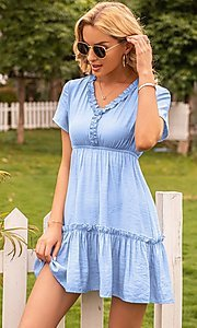 Image of short sleeve casual short light blue dress. Style: FG-LIL-21-CWDSD0694 Detail Image 1