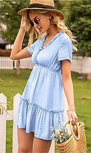 Image of short sleeve casual short light blue dress. Style: FG-LIL-21-CWDSD0694 Detail Image 2