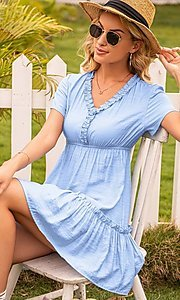 Image of short sleeve casual short light blue dress. Style: FG-LIL-21-CWDSD0694 Detail Image 3