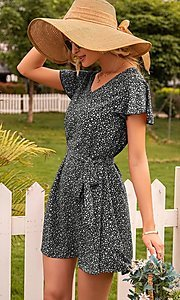 Image of waist-tie short sleeve casual short print dress. Style: FG-LIL-21-CWDSD0693 Detail Image 5