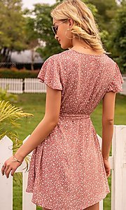 Image of waist-tie short sleeve casual short print dress. Style: FG-LIL-21-CWDSD0693 Back Image