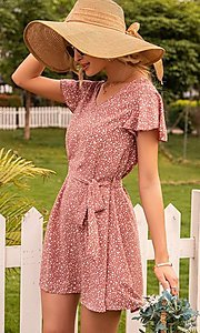 Image of waist-tie short sleeve casual short print dress. Style: FG-LIL-21-CWDSD0693 Detail Image 1