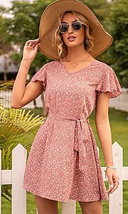 Image of waist-tie short sleeve casual short print dress. Style: FG-LIL-21-CWDSD0693 Detail Image 2