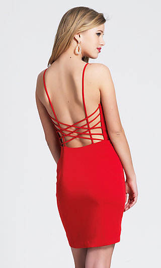 Dave & Johnny Short Red Strappy-Back Cocktail Dress