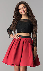 Image of lace and satin two-piece short homecoming dress. Style: NA-21-6371 Detail Image 2