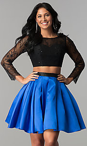 Image of lace and satin two-piece short homecoming dress. Style: NA-21-6371 Front Image