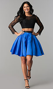 Image of lace and satin two-piece short homecoming dress. Style: NA-21-6371 Detail Image 1