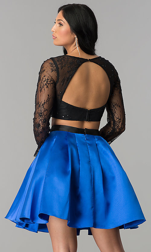 Image of lace and satin two-piece short homecoming dress. Style: NA-21-6371 Back Image