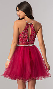 Image of beaded-bodice short homecoming dress with sheer waist. Style: DQ-21-2033 Back Image