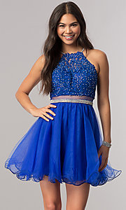 Image of beaded-bodice short homecoming dress with sheer waist. Style: DQ-21-2033 Detail Image 3