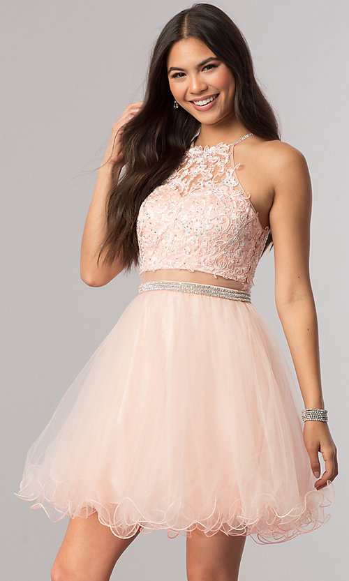Image of beaded-bodice short homecoming dress with sheer waist. Style: DQ-21-2033 Detail Image 2