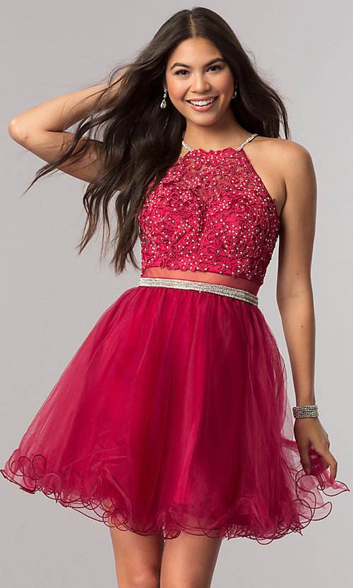 Image of beaded-bodice short homecoming dress with sheer waist. Style: DQ-21-2033 Front Image