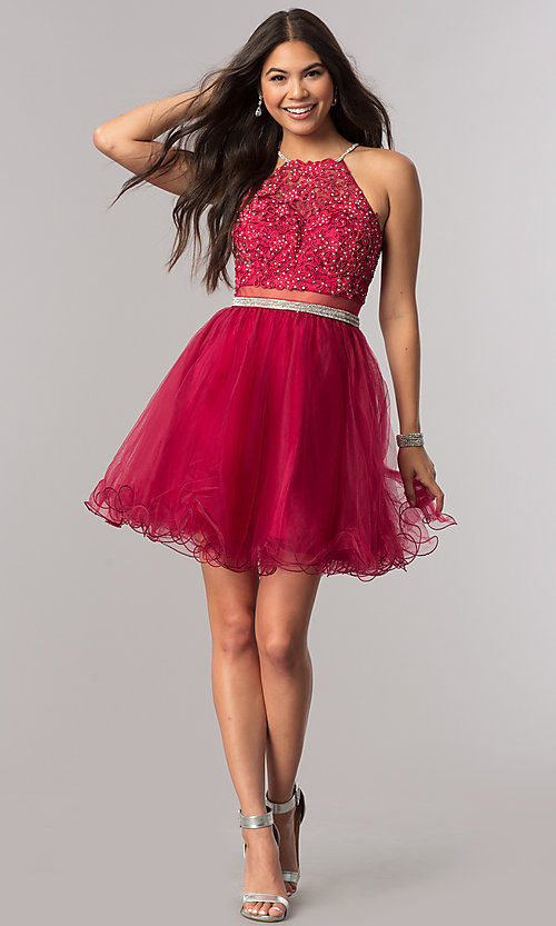 Image of beaded-bodice short homecoming dress with sheer waist. Style: DQ-21-2033 Detail Image 1