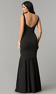 Image of drop-waist long mermaid prom dress with deep v-neck. Style: DQ-21-2186 Back Image