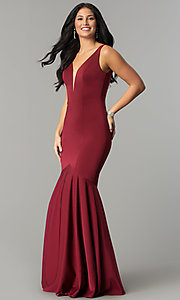 Image of drop-waist long mermaid prom dress with deep v-neck. Style: DQ-21-2186 Detail Image 2