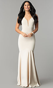 Image of drop-waist long mermaid prom dress with deep v-neck. Style: DQ-21-2186 Detail Image 3