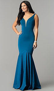 Image of drop-waist long mermaid prom dress with deep v-neck. Style: DQ-21-2186 Front Image