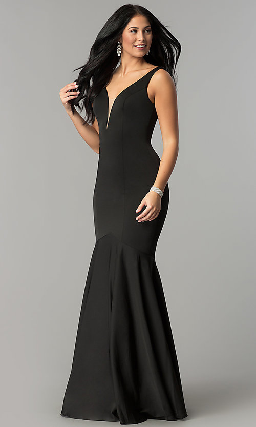 Image of drop-waist long mermaid prom dress with deep v-neck. Style: DQ-21-2186 Detail Image 1