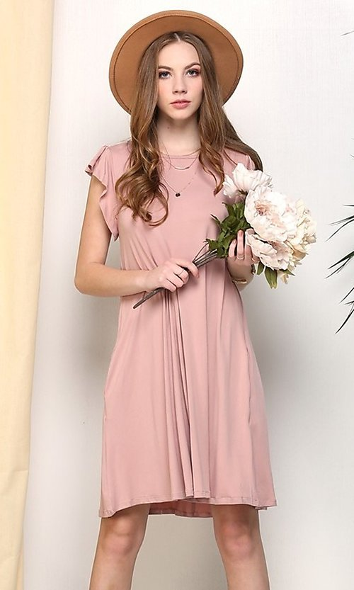 Image of cap-sleeve casual short mauve pink shift dress. Style: FG-NXS-21-CWDSD512-1C Front Image