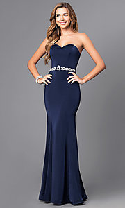Image of strapless sweetheart long prom dress with beading.  Style: DQ-21-9720 Detail Image 2