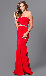 Image of strapless sweetheart long prom dress with beading.  Style: DQ-21-9720 Detail Image 1