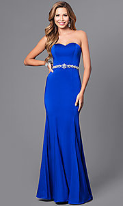 Image of strapless sweetheart long prom dress with beading.  Style: DQ-21-9720 Front Image
