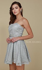 Image of beaded-waist short strapless lace homecoming dress. Style: NA-21-6358 Detail Image 4