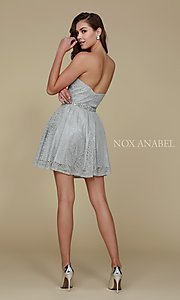 Image of beaded-waist short strapless lace homecoming dress. Style: NA-21-6358 Detail Image 5