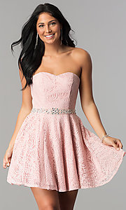 Image of beaded-waist short strapless lace homecoming dress. Style: NA-21-6358 Front Image