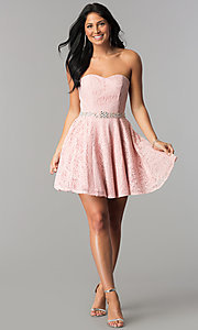 Image of beaded-waist short strapless lace homecoming dress. Style: NA-21-6358 Detail Image 1