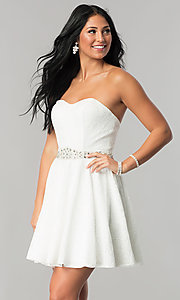 Image of beaded-waist short strapless lace homecoming dress. Style: NA-21-6358 Detail Image 2