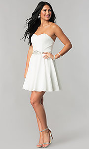 Image of beaded-waist short strapless lace homecoming dress. Style: NA-21-6358 Detail Image 3