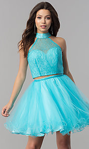 Image of two-piece short lace-high-neck homecoming dress. Style: NA-21-6354 Detail Image 1