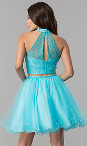 Image of two-piece short lace-high-neck homecoming dress. Style: NA-21-6354 Back Image