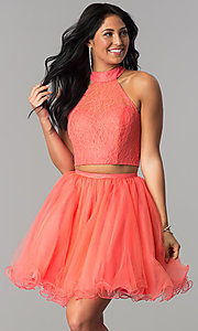 Image of two-piece short lace-high-neck homecoming dress. Style: NA-21-6354 Front Image