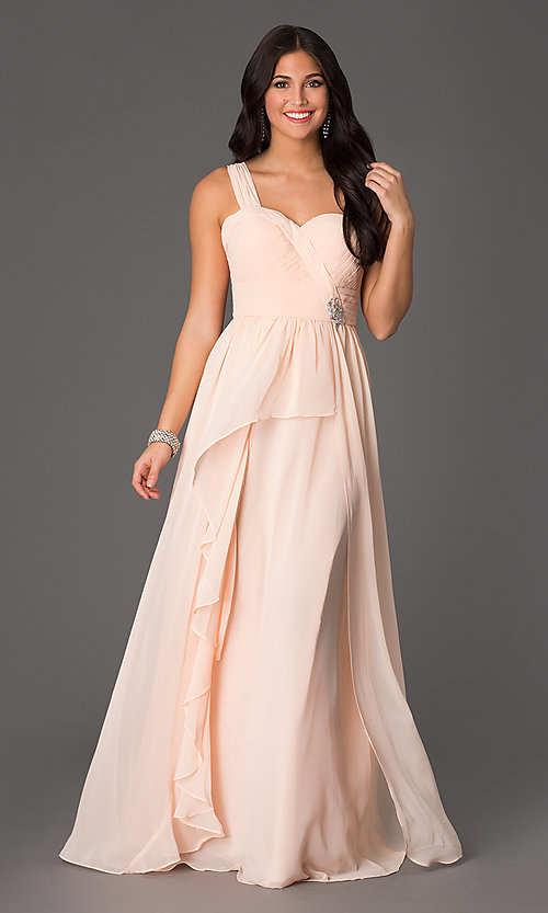 Image of sweetheart long one-shoulder formal evening gown. Style: NA-21-7125 Front Image