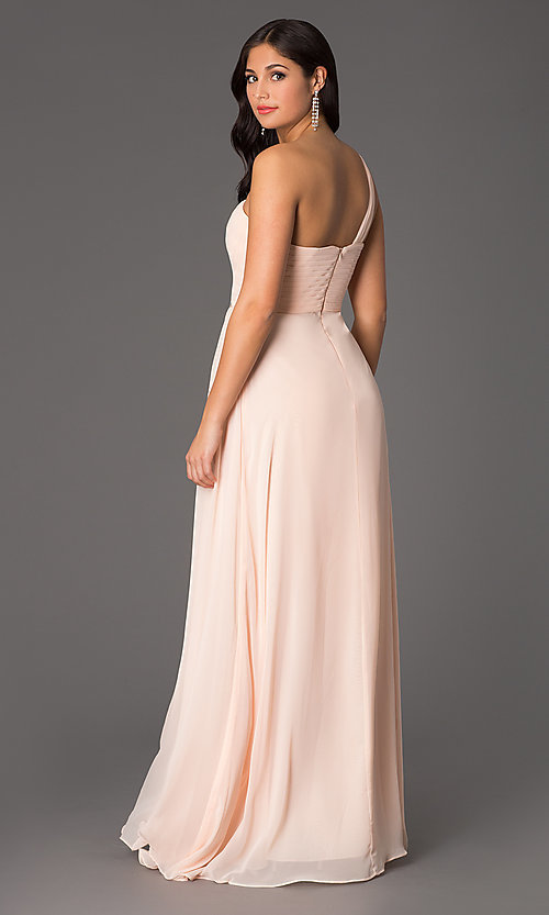 Image of sweetheart long one-shoulder formal evening gown. Style: NA-21-7125 Back Image