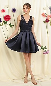 Image of lace-bodice short pleated a-line homecoming dress. Style: FG-SOI-21-S19457 Front Image