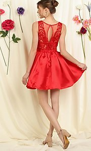Image of lace-bodice short pleated a-line homecoming dress. Style: FG-SOI-21-S19457 Back Image