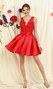 Image of lace-bodice short pleated a-line homecoming dress. Style: FG-SOI-21-S19457 Detail Image 1