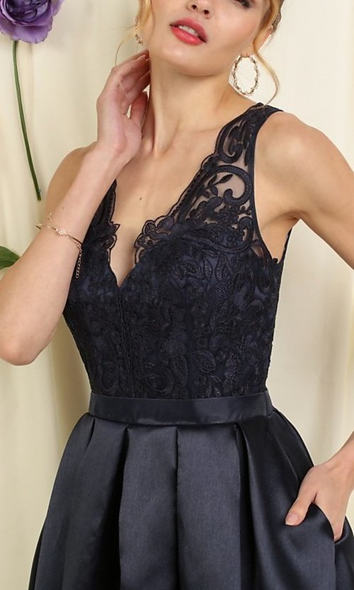 Image of lace-bodice short pleated a-line homecoming dress. Style: FG-SOI-21-S19457 Detail Image 2
